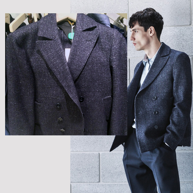 This double breasted pea coat is a stunner. I really love the contrast weaves used to create a denim like effect.