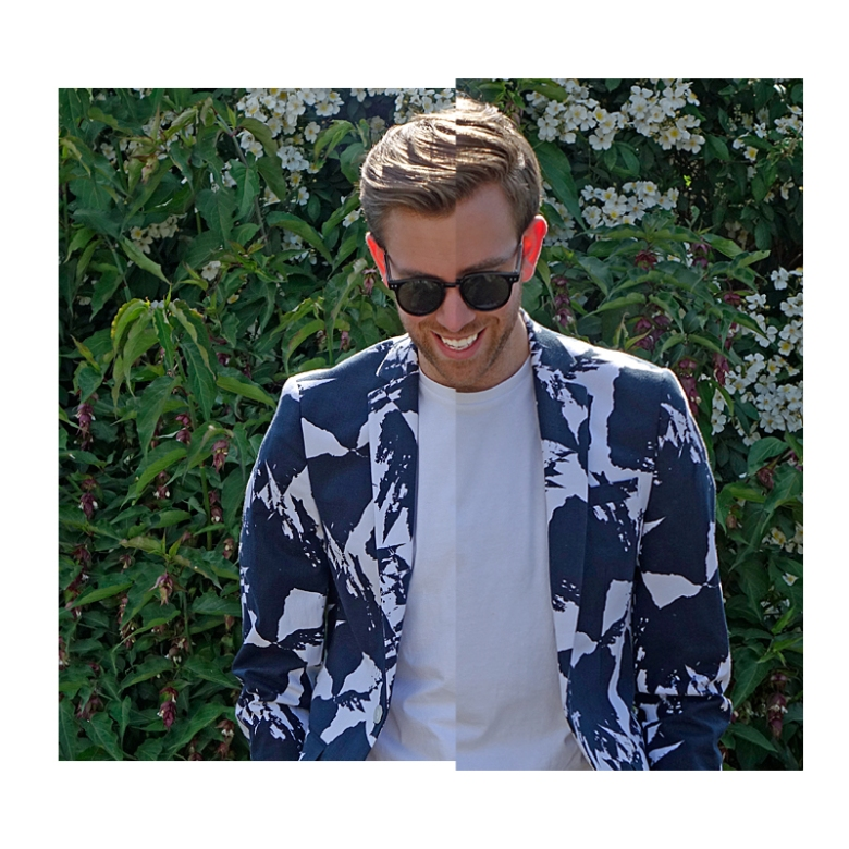 Menswear lookbook image for ASOS #ASSEENONME campaign wearing ASOS WHITE collection.