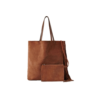 ALLSAINTS CLUB NEW LEA FRINGE TOTE TAN SUEDE BAG