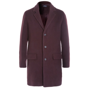 A.P.C APC Wool Blend Overcoat Burgundy Menswear Mens Coat SS16