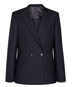 Reiss Calcium B Navy Wool Silk Double Breasted Suit Jacket Blazer Polka Dot