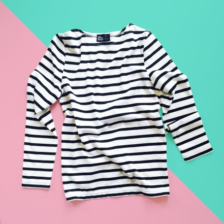 Mon Breton Stripe Top Unisex Long Sleeve Custom Emboidery