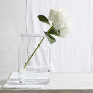 Expertly mouth-blown in Poland using heavyweight soda lime glass, the contemporary vase features organic rolled edges with a lovely bottle-shaped neck that allows the piece to be used as a hurricane. Pair with the Antibes Vase Tall and Antibes Vase Wide for maximum impact.