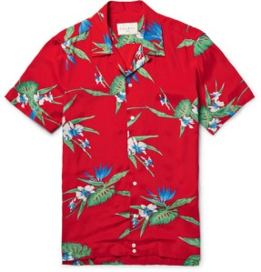 Sandro's smooth poplin shirt is printed with bird-of-paradise flowers in vivid shades of red, blue and green camp collar retro blog blogger boyinbreton boy in breton