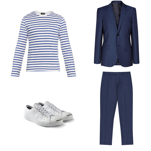APC A.P.C Stripe top tee Reiss blue suit jack purcell converse sneakers plimsolls styling menswear how to wear blog blogger mens fashion