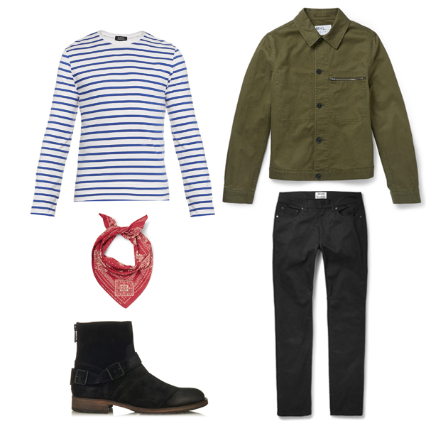 APC A.P.C Stripe Breton Top Tee Chinos Gant Rugger Saturdays Surf NYC Clarks Desert Boots Red J.Crew belt menswear mens styling fashion tips how to wear advice boy in breton boyinbreton blogger blog Margaret Howell MHL Acne Studios RRL Belstaff Buckle boots