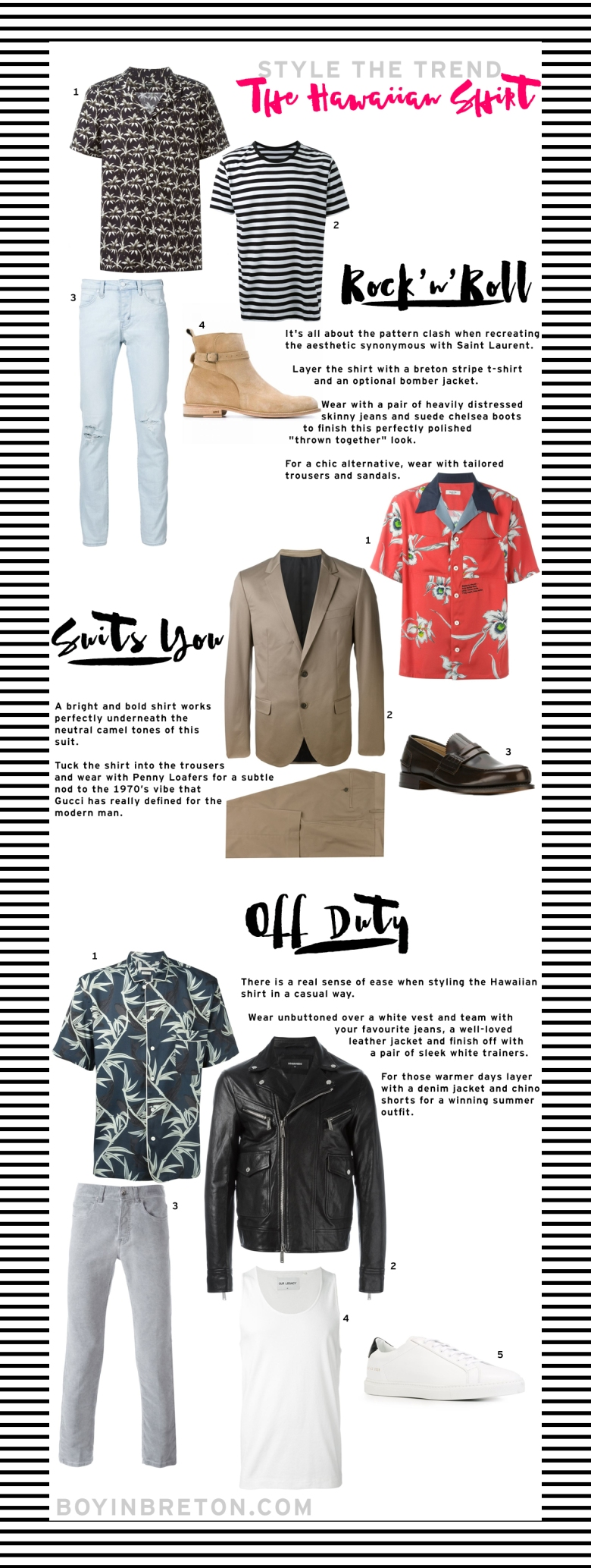 Farfetch Menswear Luxury Style Fashion Clothes Shopping Trend Spring Summer Hawaiian Shirt Boyinbreton Boy in Breton Blog Blogger Top Mens Blog UK London Gay Lifestyle Saint Laurent Acne Marc Jacobs Boots Jeans Stripe T-shirt Shirt Loafers Trainers