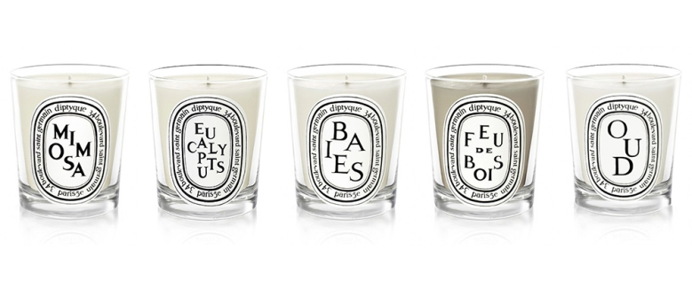 Diptyque candle candles mimosa eucalyptus baies feu de bois oud