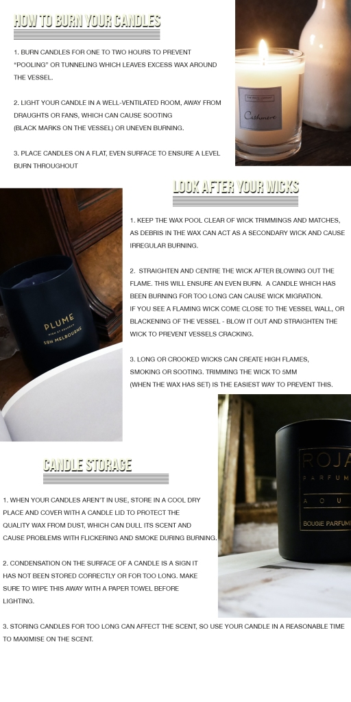 Candle care how to look after candles guide tips lifestyle the white company roja dove plume soh wicks burn scented lifestyle blog blogger boyinbreton boyinbreton.com boy in breton