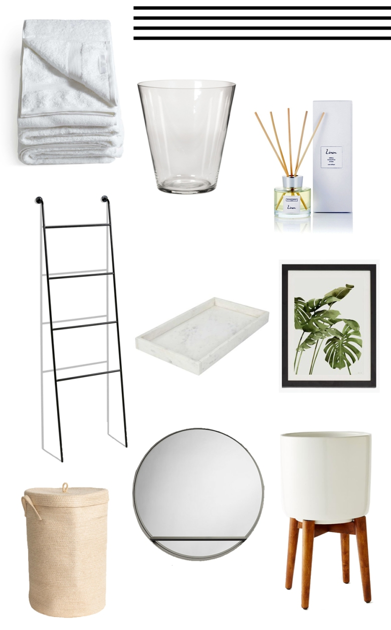 Bathroom ideas inspiration decoration interiors design styling reset style the white company towels glass vase planter mirror round plant marble decor reset westelm john lewis lifestyle blog blogger male mens boyinbreton.com boy in breton